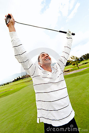 Man winning at golf