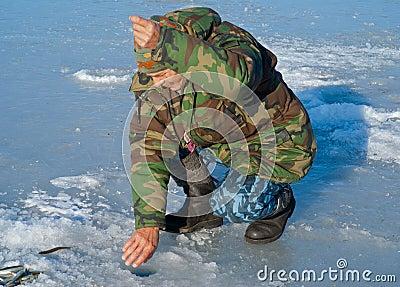 Man on winter fishing 29