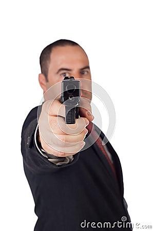 Free Man With A Gun Royalty Free Stock Photo - 27241265