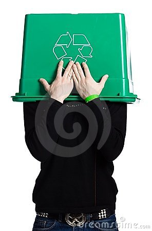 Free Man With A Recycling Box Royalty Free Stock Image - 2404136