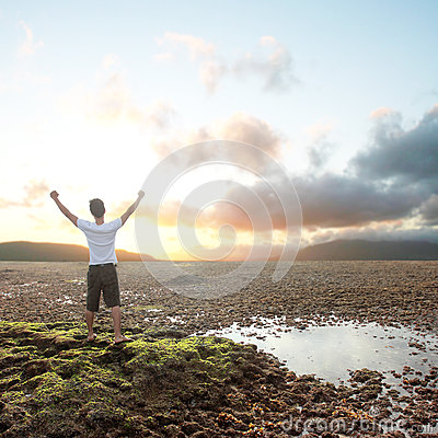 Free Man With Arms Raised Royalty Free Stock Photography - 26505097