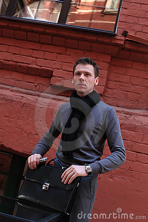 Free Man With Case In City Stock Images - 20155294