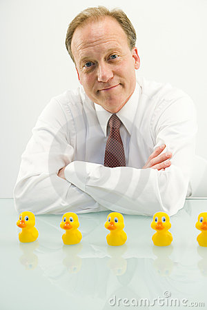 Free Man With Ducks In A Row Stock Image - 5646001