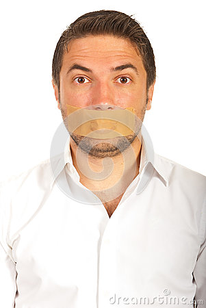 Free Man With Duct Tape Over Mouth Royalty Free Stock Photography - 32097697