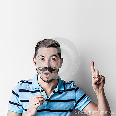 Free Man With Fake Mustache Royalty Free Stock Photos - 84168098