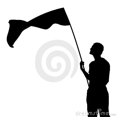 Free Man With Flag Silhouette Stock Images - 20918424