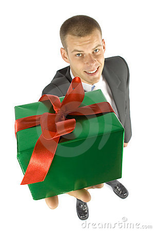 Free Man With Gift Royalty Free Stock Photos - 1101378
