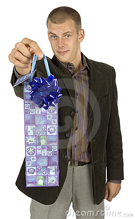 Free Man With Gift Stock Image - 1101461