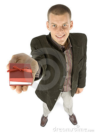 Free Man With Gift Stock Photography - 1101482