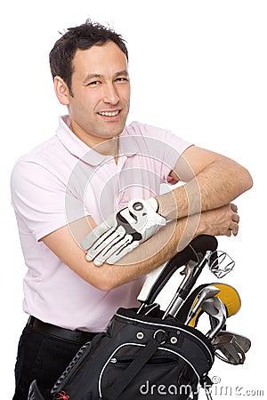 Free Man With Golf Kit Stock Photo - 12127740