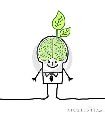 Free Man With Green Brain & Leaf Stock Photos - 18835883