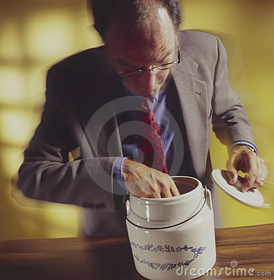 Free Man With Hand In Cookie Jar_2 Royalty Free Stock Photos - 5942948