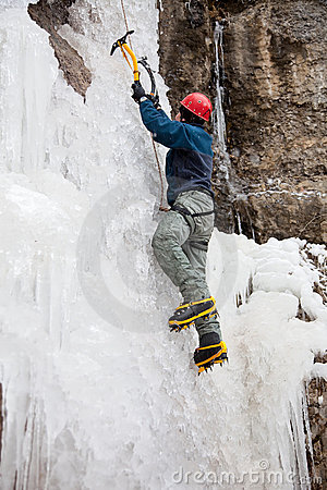 Free Man With Ice Axes And Crampons Stock Photo - 18763250