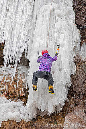 Free Man With Ice Axes And Crampons Royalty Free Stock Photos - 19048028