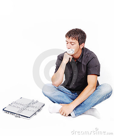 Free Man With Isolated Mouth And Chained Laptop Royalty Free Stock Photos - 10028228