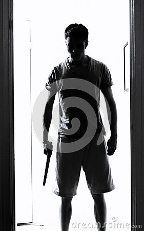 Free Man With Knife Silhouette Royalty Free Stock Photography - 34971817