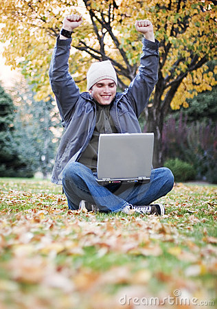 Free Man With Laptop Stock Photo - 964960