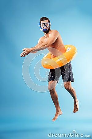 Free Man With Swimming Circle Diving Stock Photos - 94079603