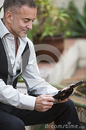 Free Man With Touchpad Stock Images - 48609244