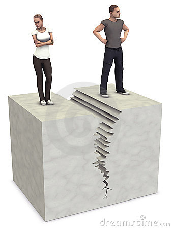 Man Woman 3D couple split divorce crack break up