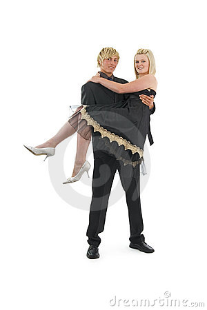 Man with woman in arms.