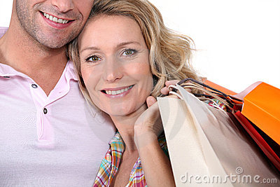 Man and woman with bags