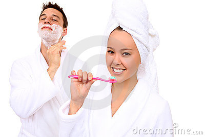 Man and Woman in Bathroom