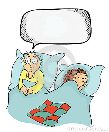 Man and woman in bed. Concept on the topic of insomnia, or erectile dysfunction, problems between the spouses. Vector Vector Illustration