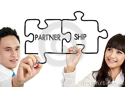 Man and woman business partnership