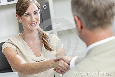 Man Woman Businessman Businesswoman Shaking Hands