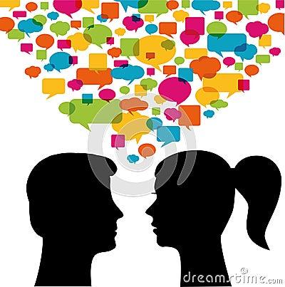 Man and woman communication