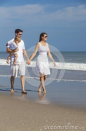 Man Woman Couple Baby Child Walking on Beach