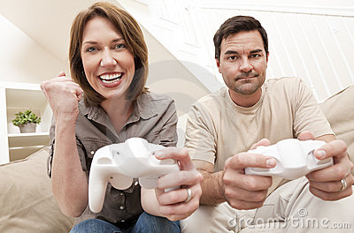 Man Woman Couple Playing Video Console Game Stock Photo