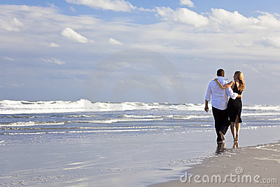 Man and Woman Couple Romantic Walk On A Beach