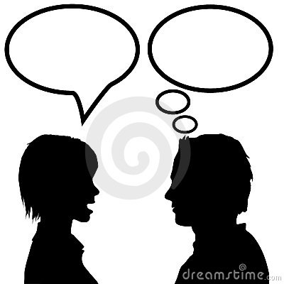 man woman couple silhouette talk say think