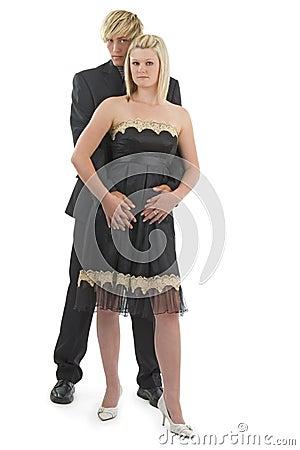 Man with woman cuddling.