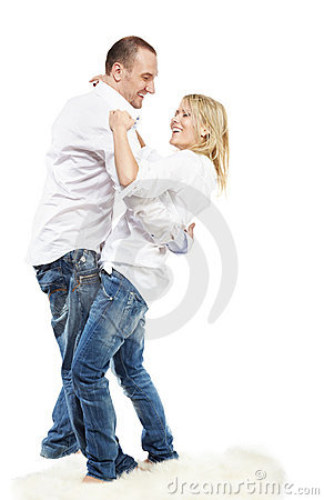Man and woman dance on carpet