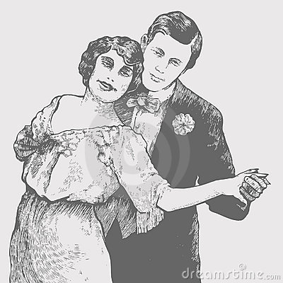 Man and  woman dance a tango