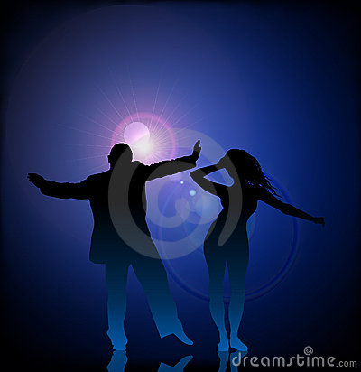 Man and woman dancing on vector lens flare