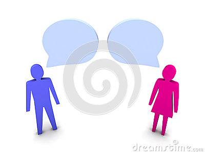 Man and woman dialog.