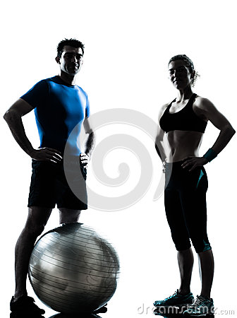 Free Man Woman Exercising Workout Fitness Ball Stock Images - 25838734