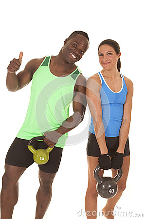 Man and woman fitness her more weight