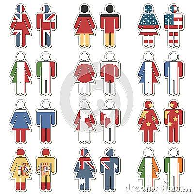 Man woman flag stickers