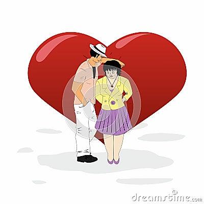 Man and woman flirting at a big heart