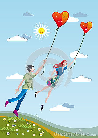 Man And Woman Flying With Hearts