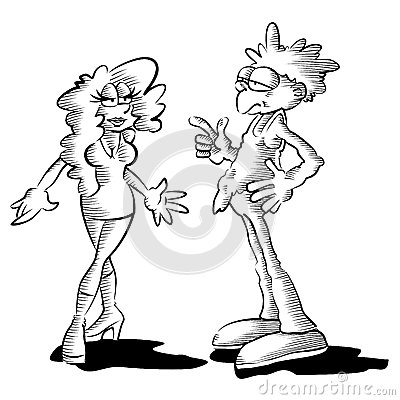 Man and woman - funny illustration