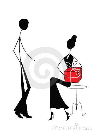 Man and woman with gift