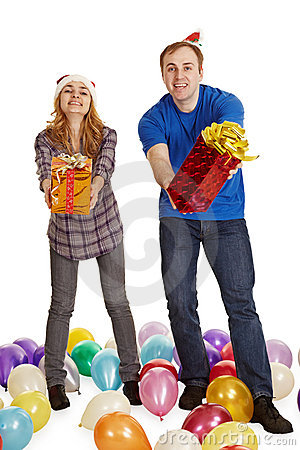 Man and woman give gifts isolated on white