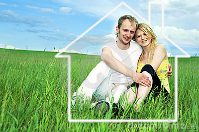 Man and woman in green field