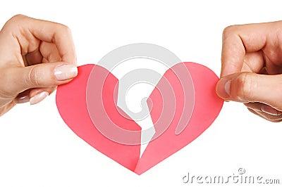 Man woman hands holding broken heart